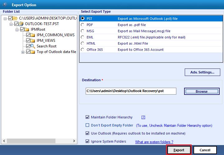 Export files & folders
